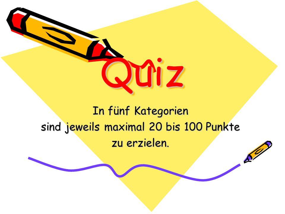 In fünf Kategorien sind jeweils maximal 20 bis 100 Punkte zu erzielen.