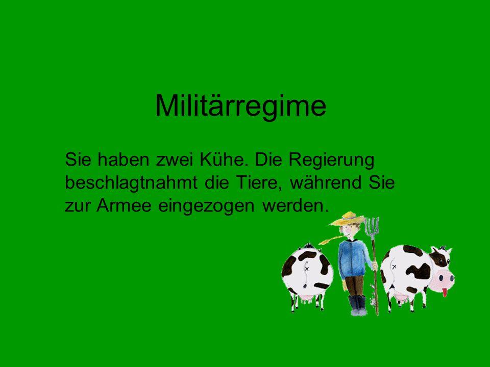 Militärregime Sie haben zwei Kühe.