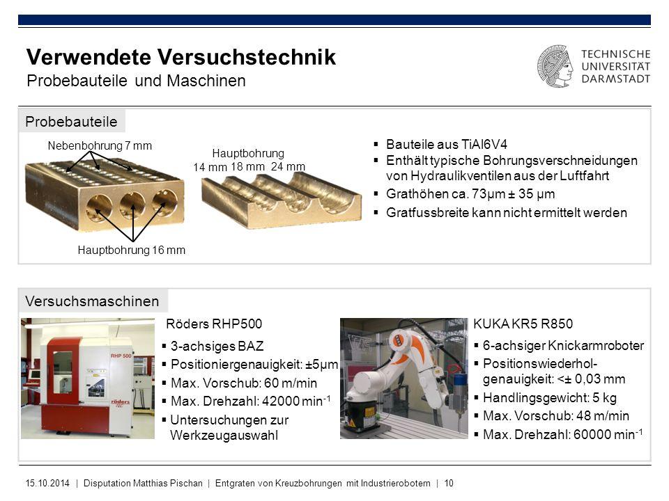 Verwendete Versuchstechnik Probebauteile und Maschinen