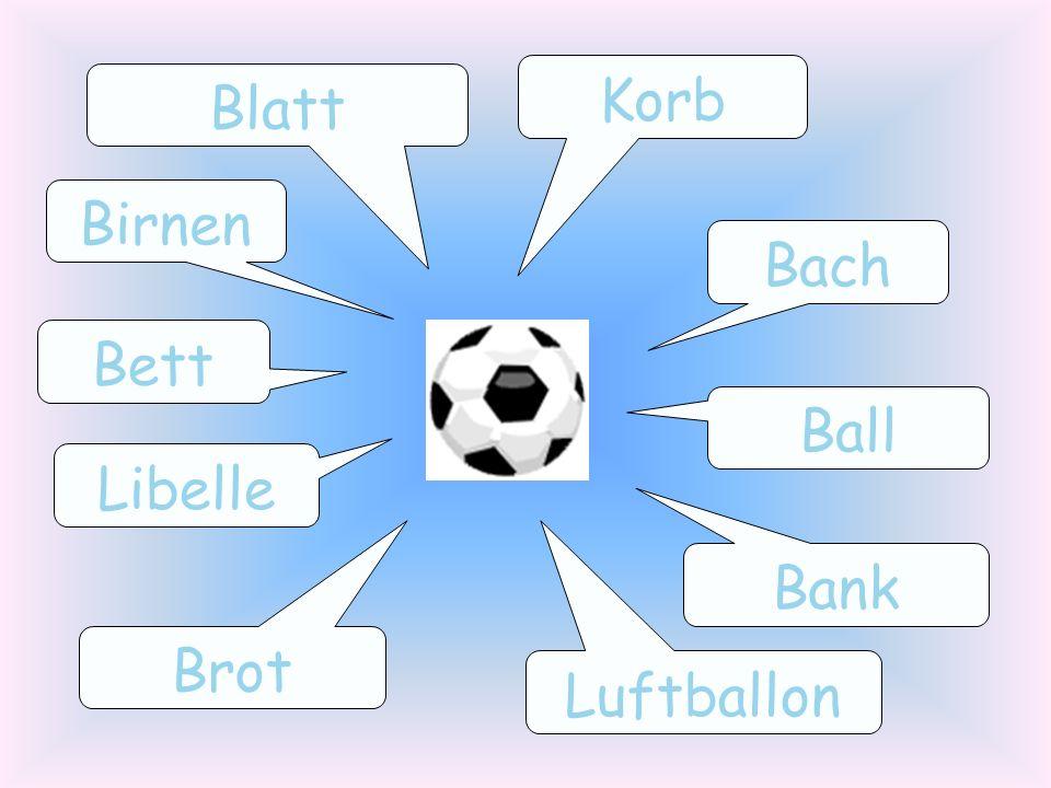 Korb Blatt Birnen Bach Bett Ball Libelle Bank Brot Luftballon