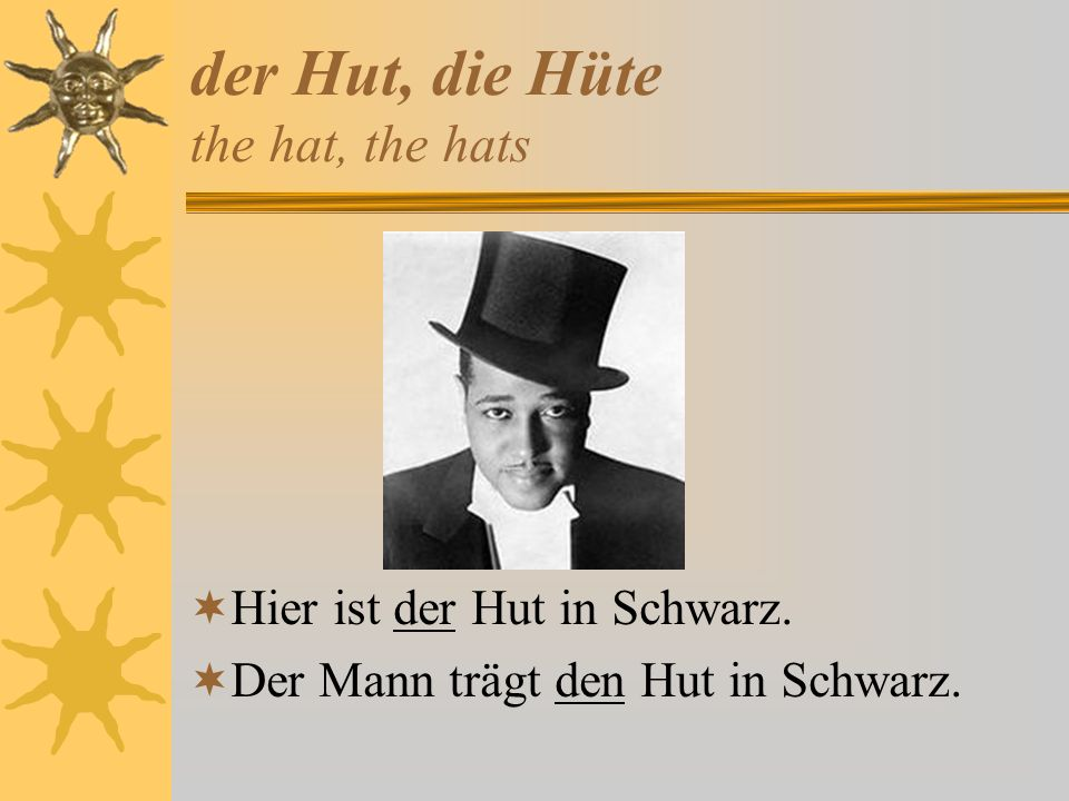 der Hut, die Hüte the hat, the hats