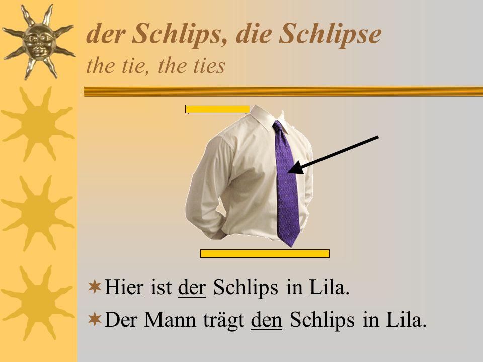 der Schlips, die Schlipse the tie, the ties
