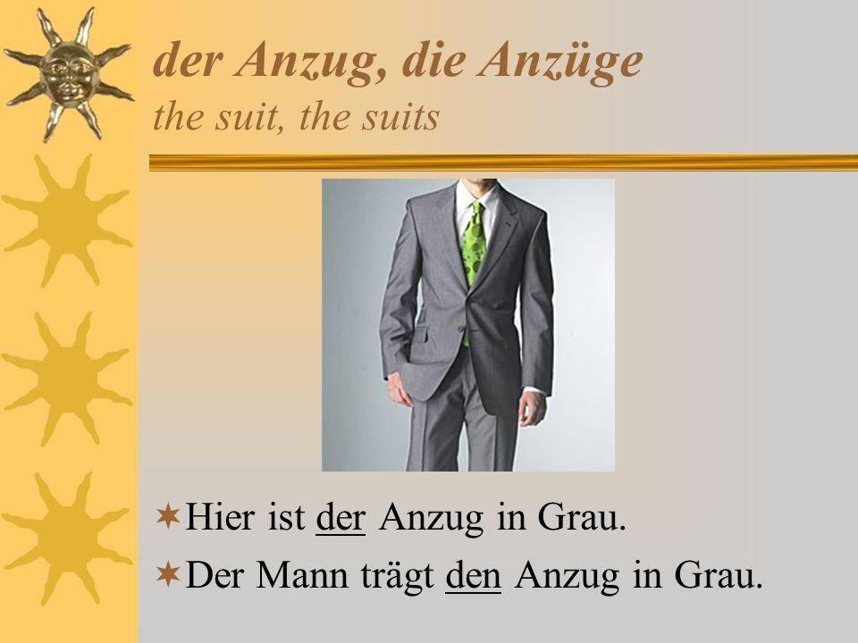 der Anzug, die Anzüge the suit, the suits