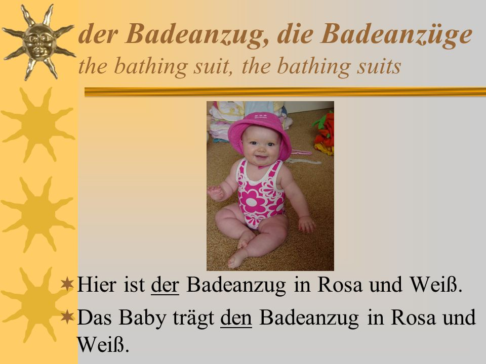 der Badeanzug, die Badeanzüge the bathing suit, the bathing suits