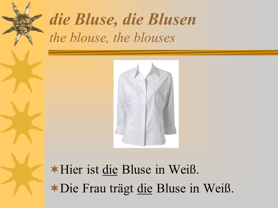 die Bluse, die Blusen the blouse, the blouses