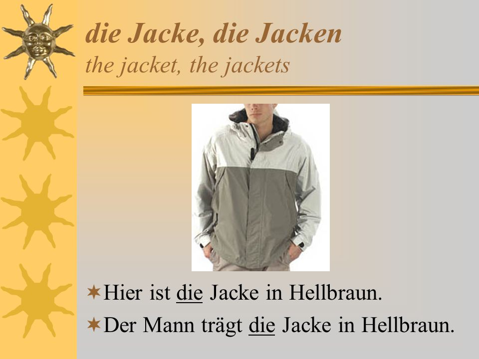 die Jacke, die Jacken the jacket, the jackets