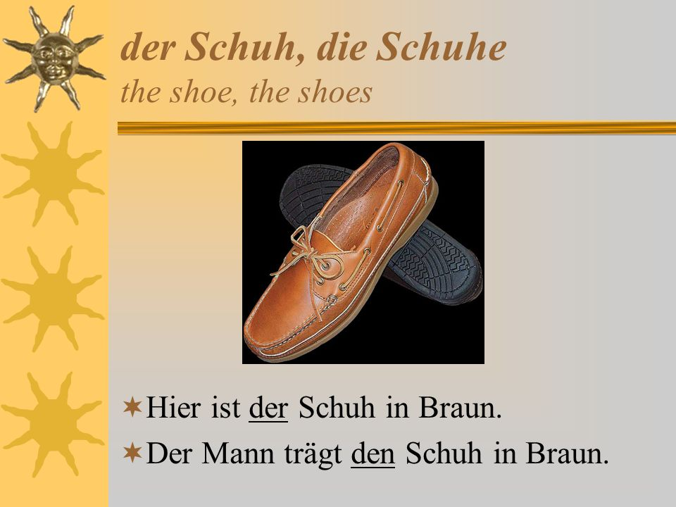 der Schuh, die Schuhe the shoe, the shoes
