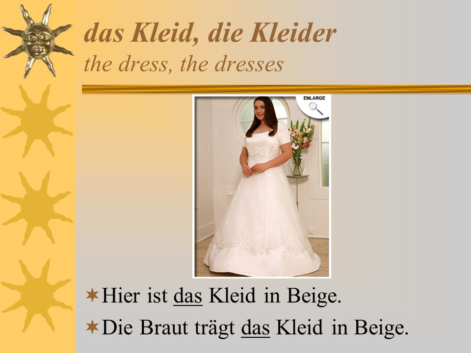 das Kleid, die Kleider the dress, the dresses