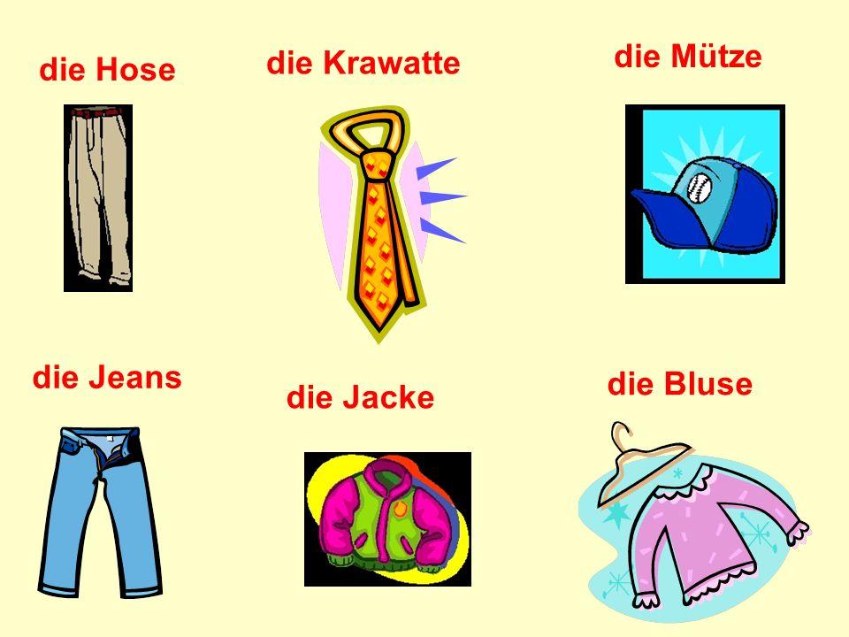 die Mütze die Krawatte die Hose die Jeans die Bluse die Jacke