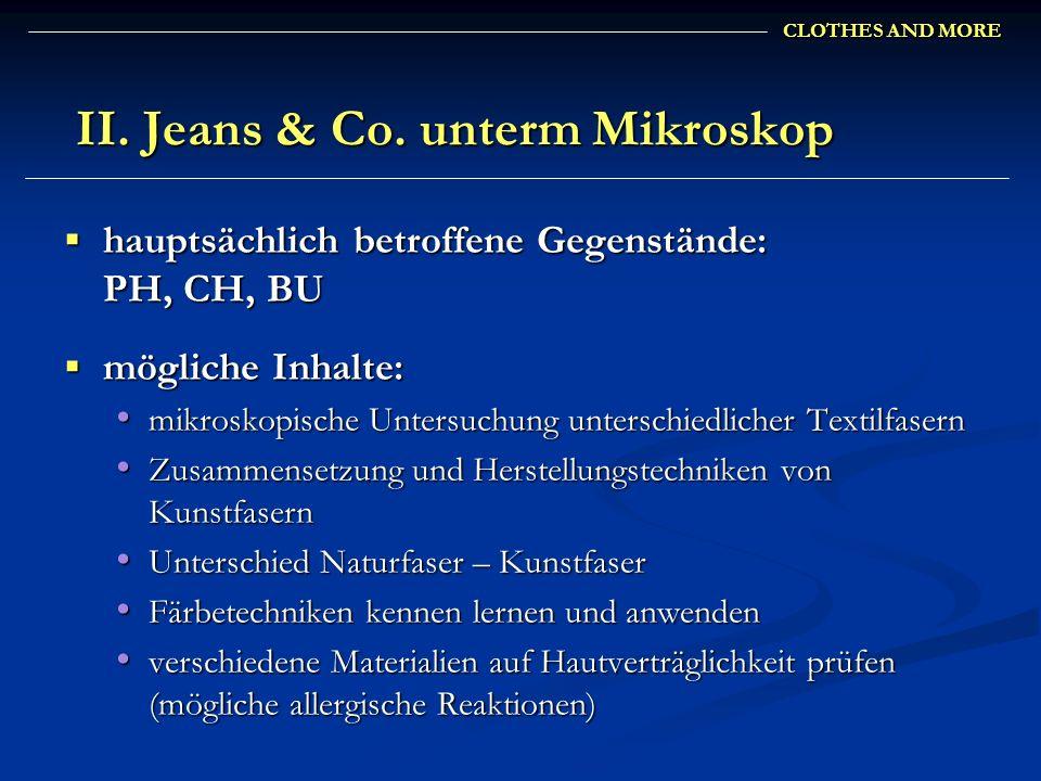 II. Jeans & Co. unterm Mikroskop