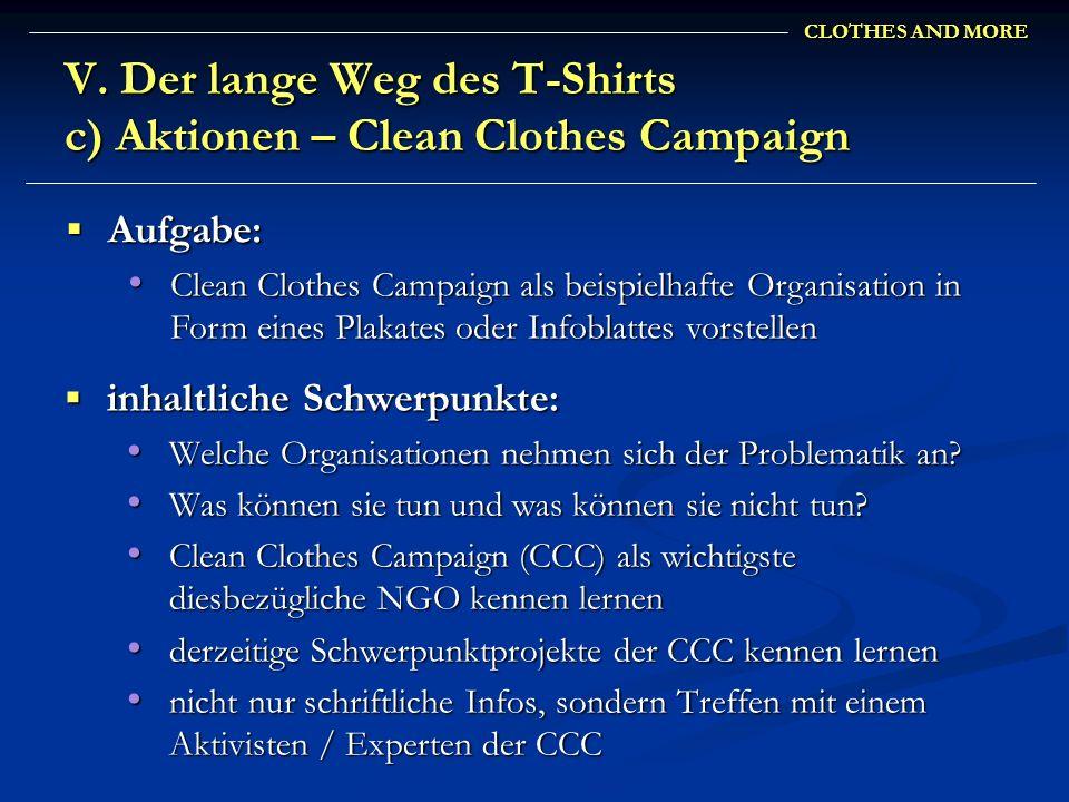 V. Der lange Weg des T-Shirts c) Aktionen – Clean Clothes Campaign
