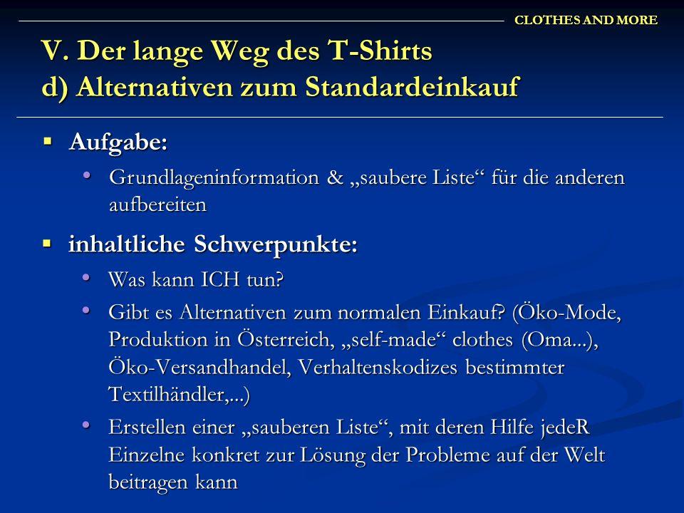V. Der lange Weg des T-Shirts d) Alternativen zum Standardeinkauf