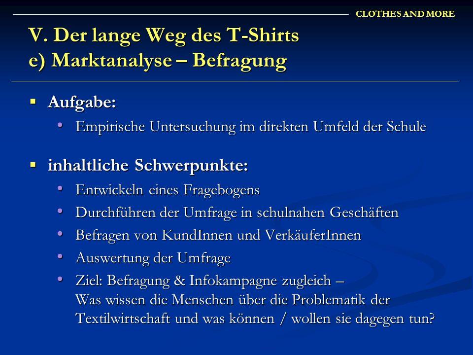 V. Der lange Weg des T-Shirts e) Marktanalyse – Befragung