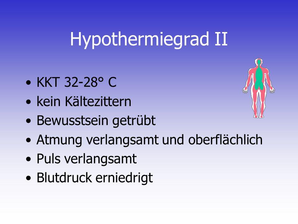 Hypothermiegrad II KKT 32-28° C kein Kältezittern Bewusstsein getrübt