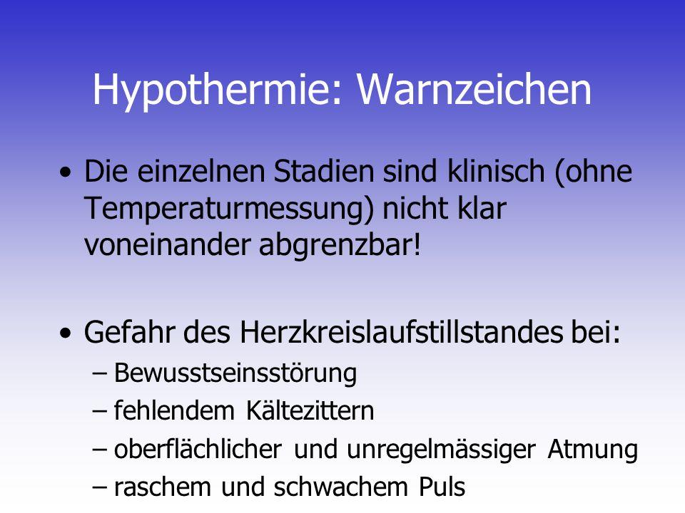 Hypothermie: Warnzeichen