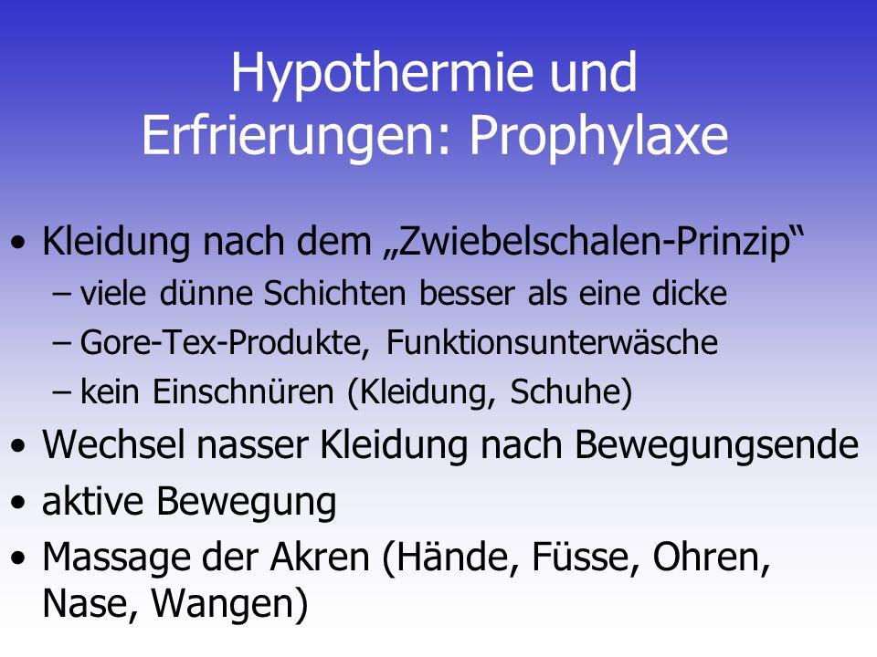 Hypothermie und Erfrierungen: Prophylaxe
