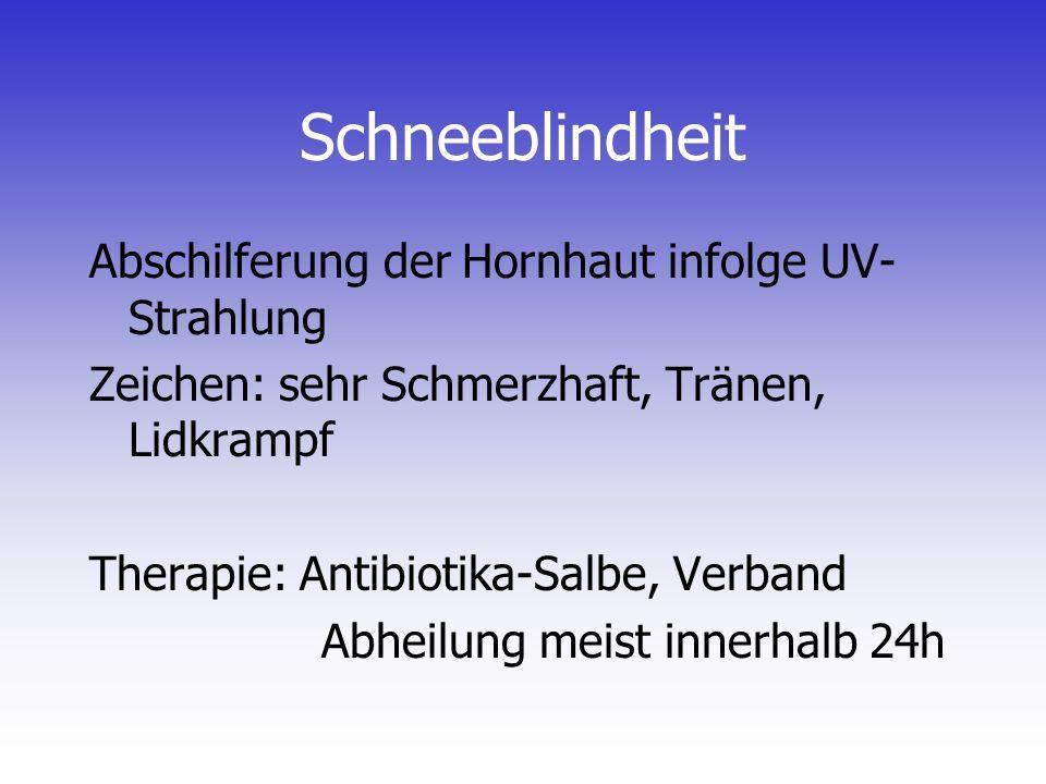 Schneeblindheit Abschilferung der Hornhaut infolge UV-Strahlung