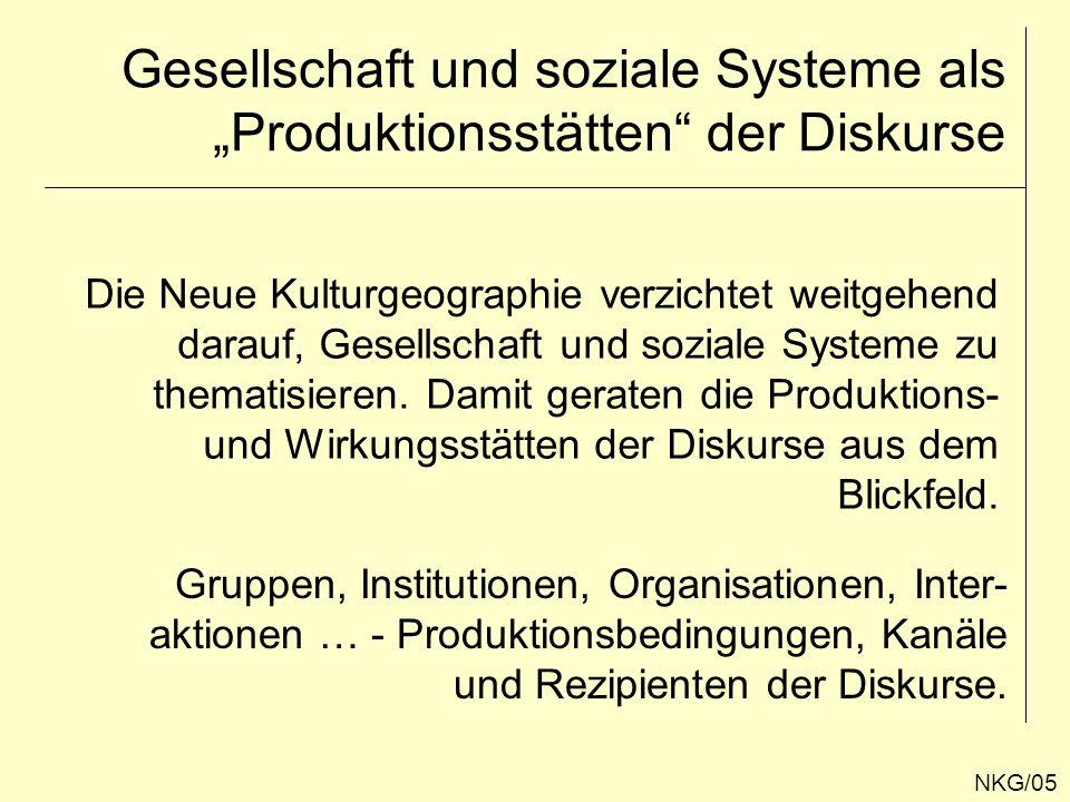 """Gesellschaft und soziale Systeme als """"Produktionsstätten der Diskurse"""