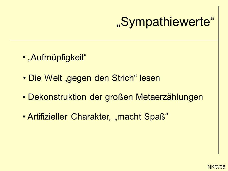 """""""Sympathiewerte """"Aufmüpfigkeit Die Welt """"gegen den Strich lesen"""