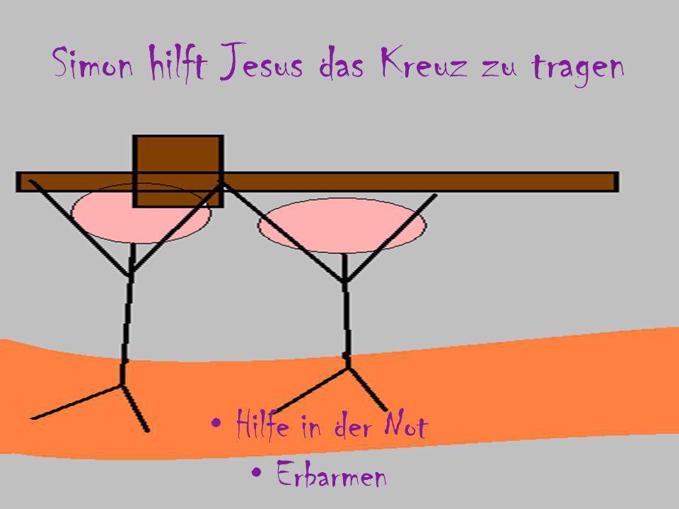 Simon hilft Jesus das Kreuz zu tragen
