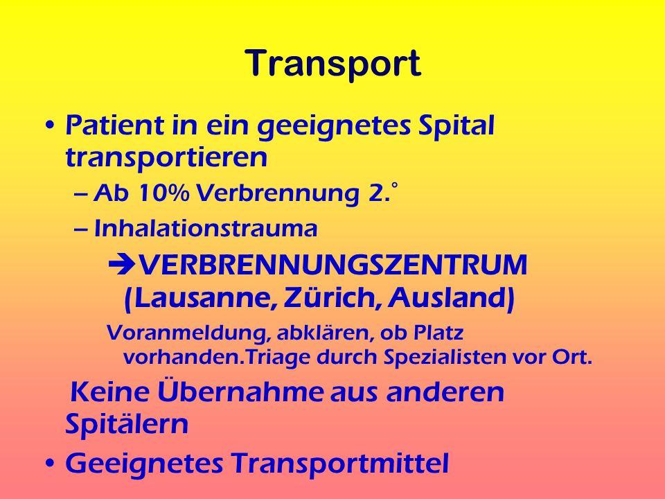 Transport Patient in ein geeignetes Spital transportieren
