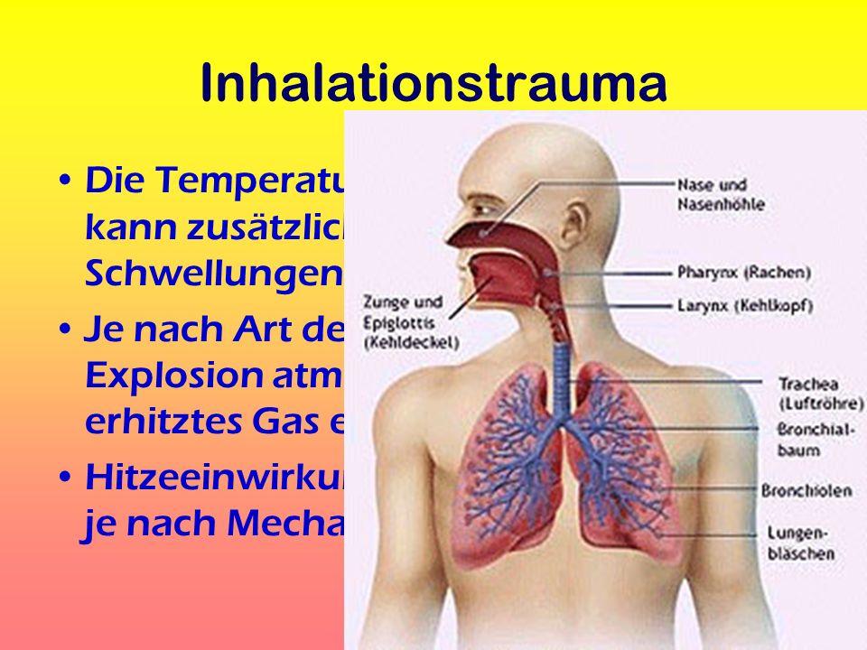 Inhalationstrauma Die Temperatur der eingeatmeten Gase kann zusätzliche Schädigungen / Schwellungen hervorrufen.