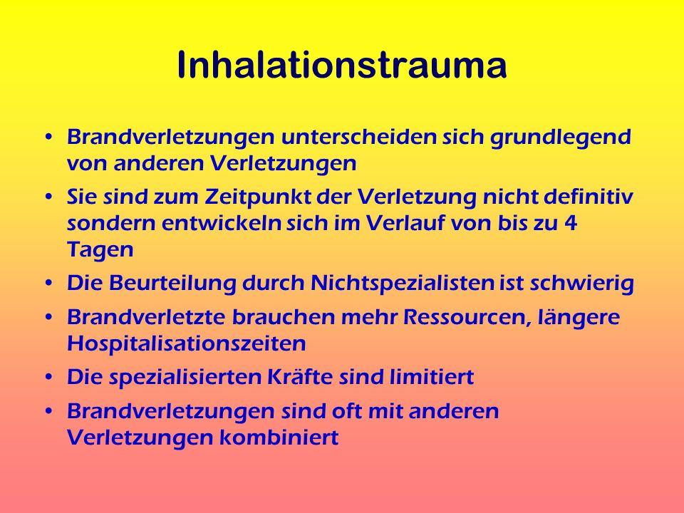 Inhalationstrauma Brandverletzungen unterscheiden sich grundlegend von anderen Verletzungen.