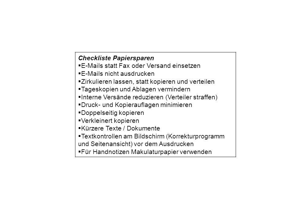 Checkliste Papiersparen