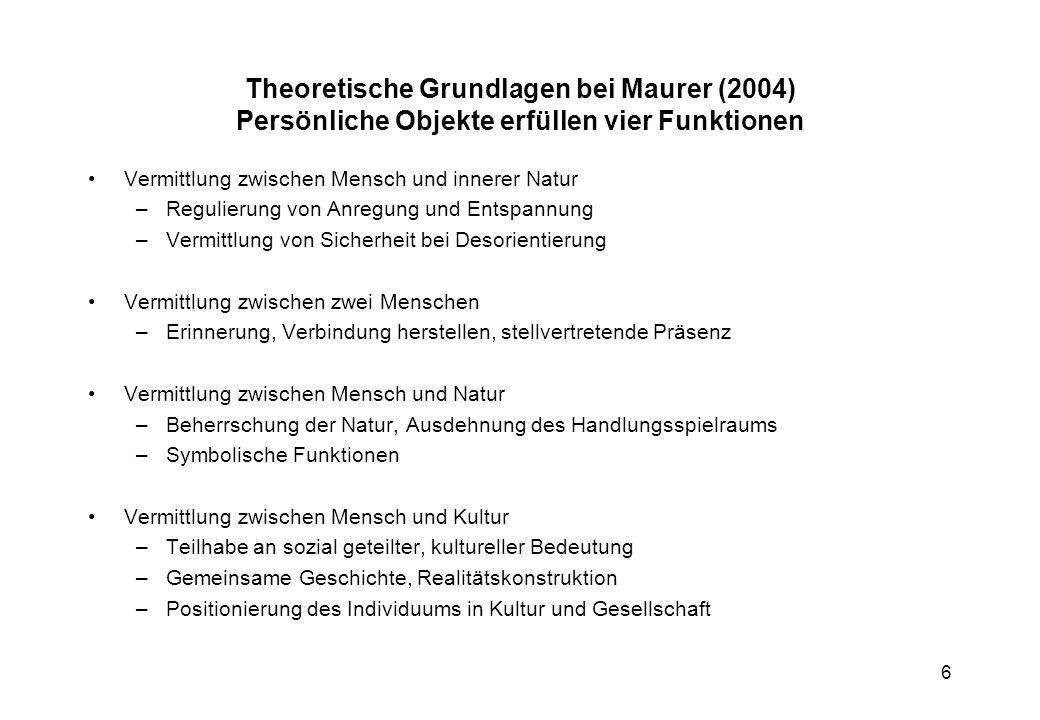 Theoretische Grundlagen bei Maurer (2004) Persönliche Objekte erfüllen vier Funktionen
