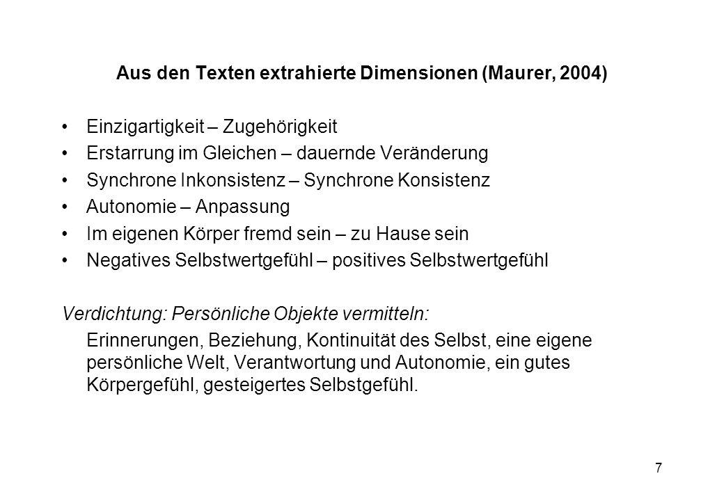 Aus den Texten extrahierte Dimensionen (Maurer, 2004)