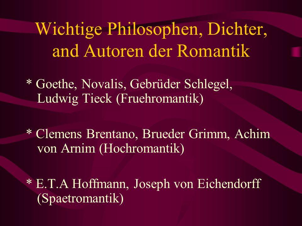 Wichtige Philosophen, Dichter, and Autoren der Romantik