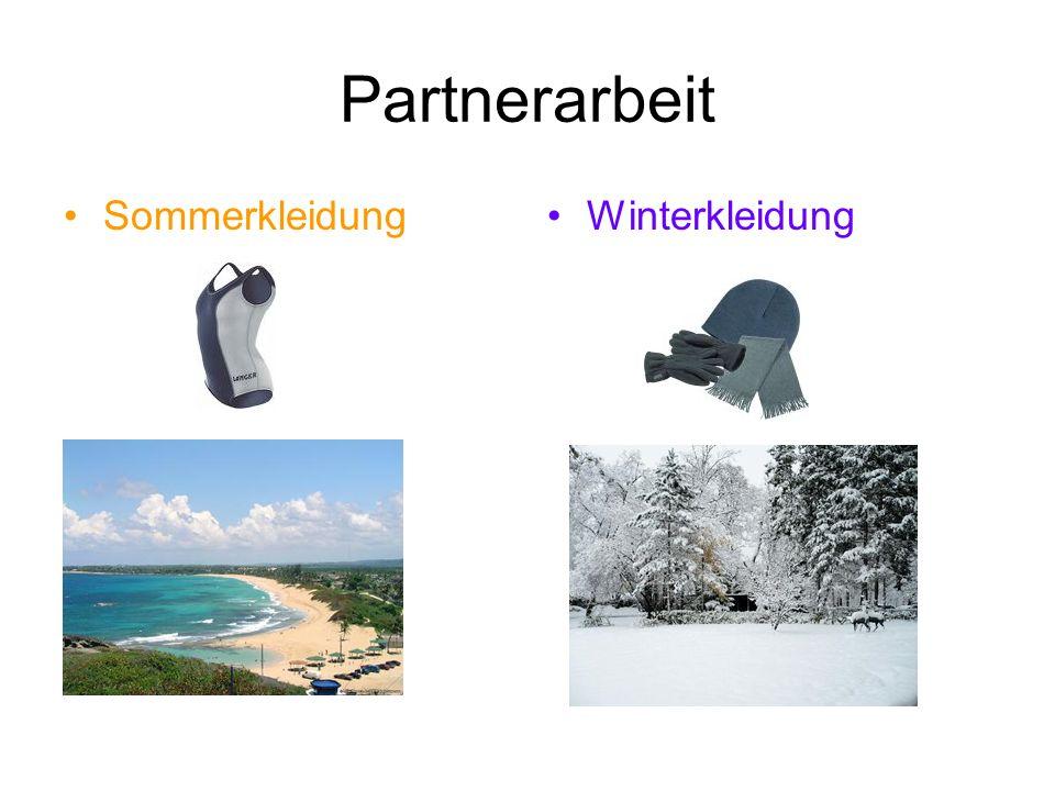 Partnerarbeit Sommerkleidung Winterkleidung