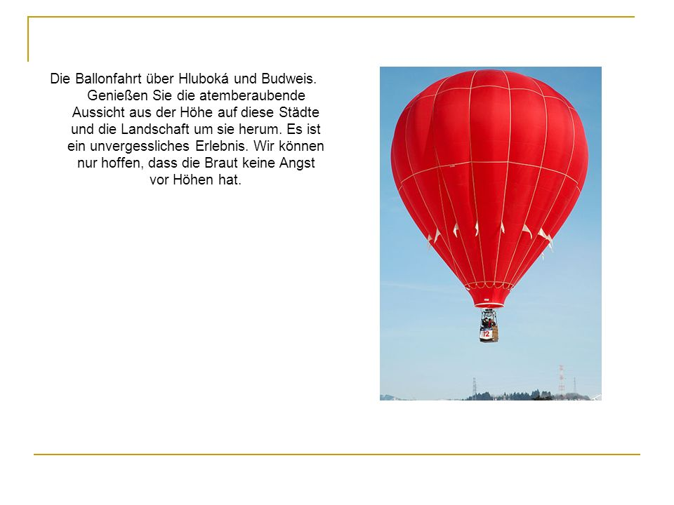 Die Ballonfahrt über Hluboká und Budweis
