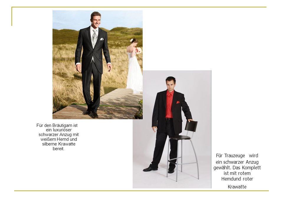 Für Trauzeuge wird ein schwarzer Anzug gewählt. Das Komplett