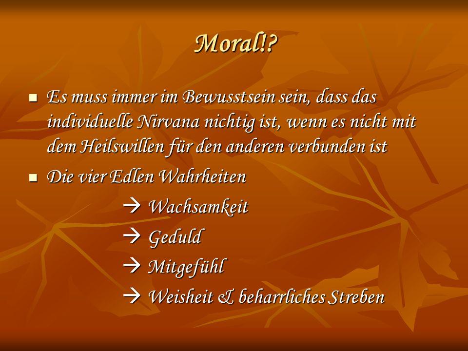 Moral! Es muss immer im Bewusstsein sein, dass das individuelle Nirvana nichtig ist, wenn es nicht mit dem Heilswillen für den anderen verbunden ist.