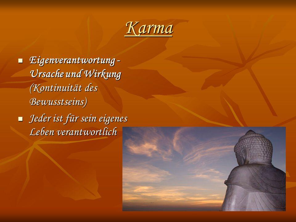 Karma Eigenverantwortung - Ursache und Wirkung (Kontinuität des Bewusstseins) Jeder ist für sein eigenes Leben verantwortlich.