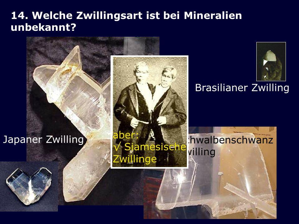 14. Welche Zwillingsart ist bei Mineralien unbekannt