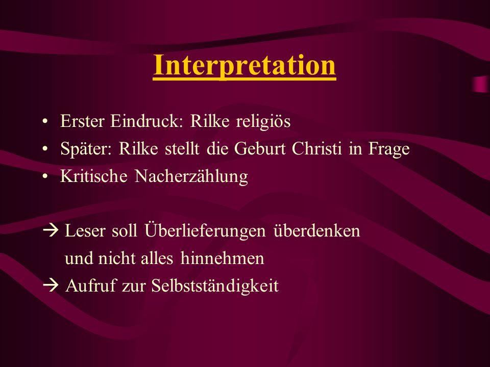 Interpretation Erster Eindruck: Rilke religiös
