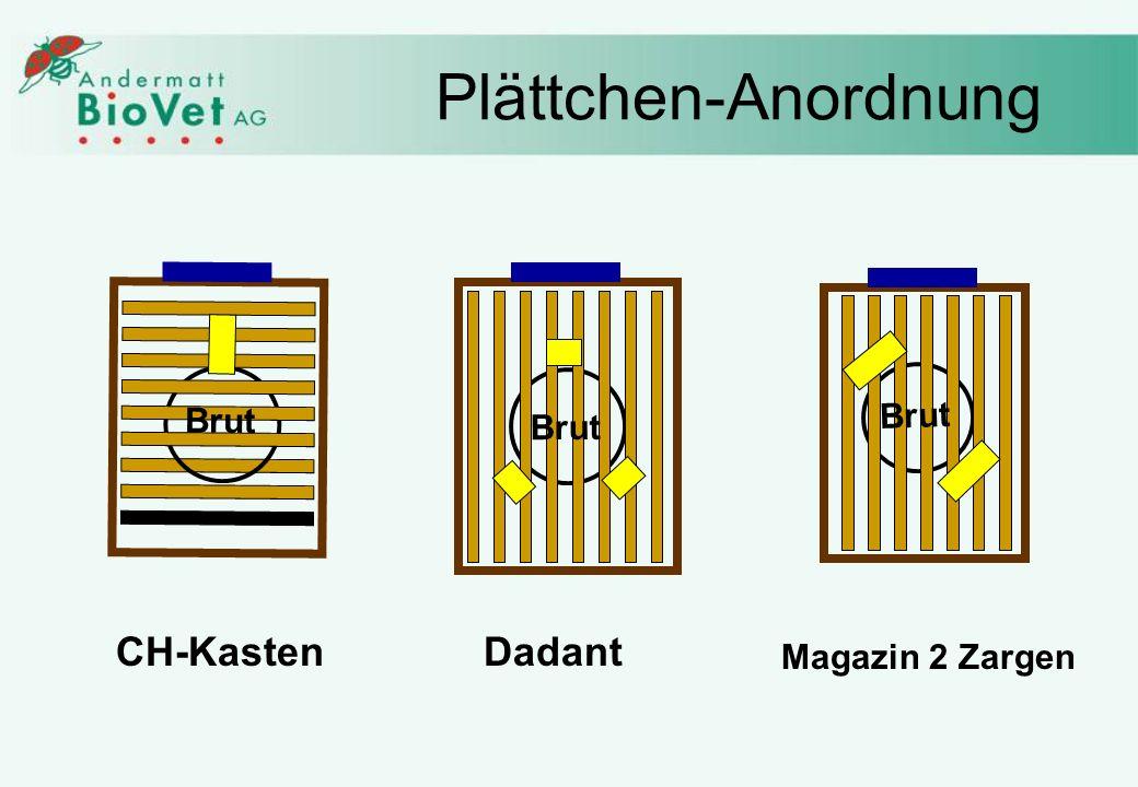 Plättchen-Anordnung Brut Brut Brut CH-Kasten Dadant Magazin 2 Zargen