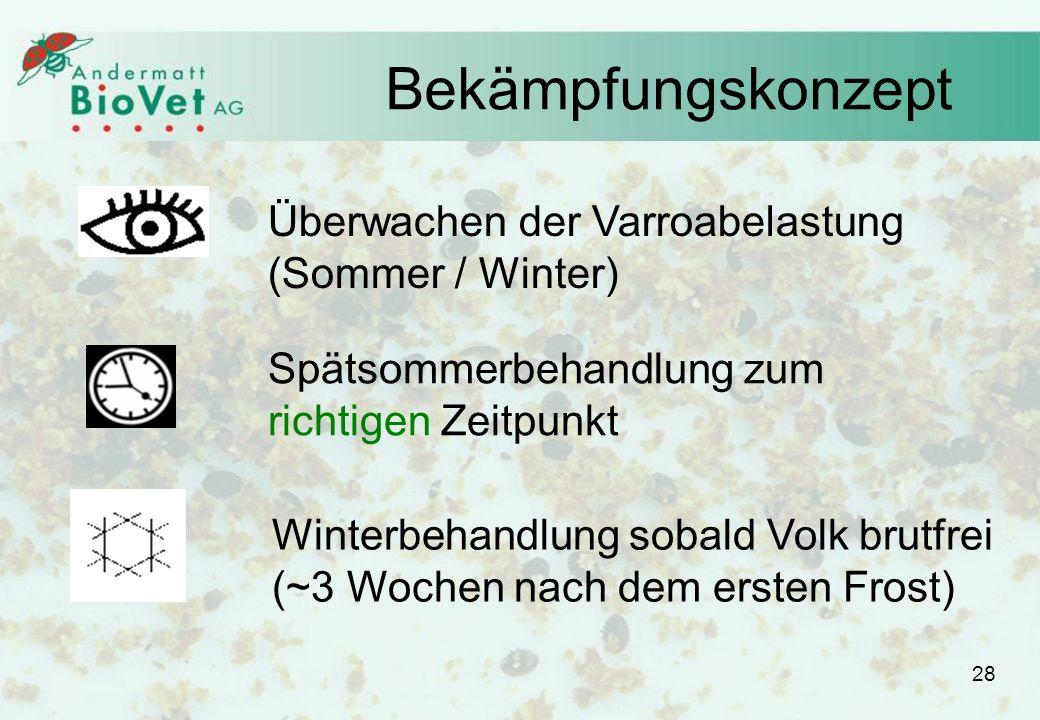 Bekämpfungskonzept Überwachen der Varroabelastung (Sommer / Winter)