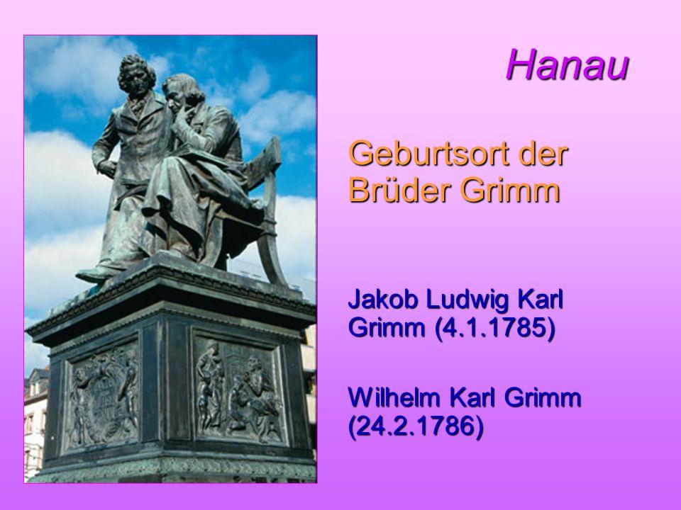 Hanau Geburtsort der Brüder Grimm Jakob Ludwig Karl Grimm (4.1.1785)