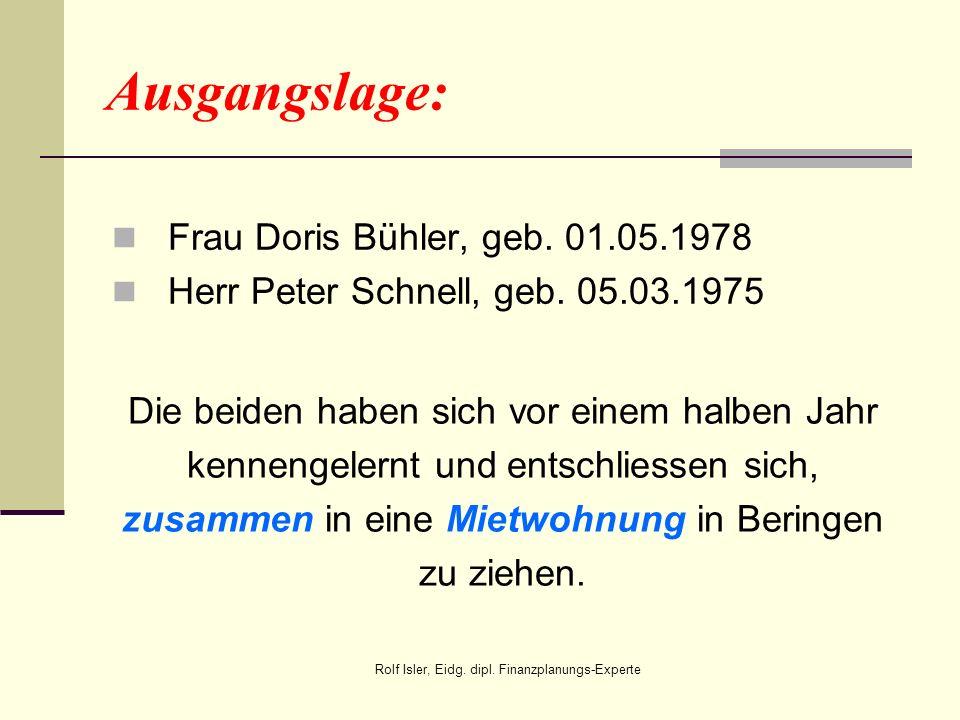 Frau Doris Bühler, geb. 01.05.1978 Herr Peter Schnell, geb. 05.03.1975