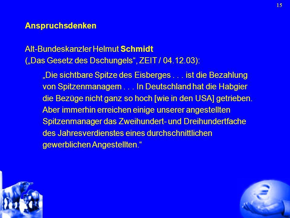 """Anspruchsdenken Alt-Bundeskanzler Helmut Schmidt. (""""Das Gesetz des Dschungels , ZEIT / 04.12.03):"""