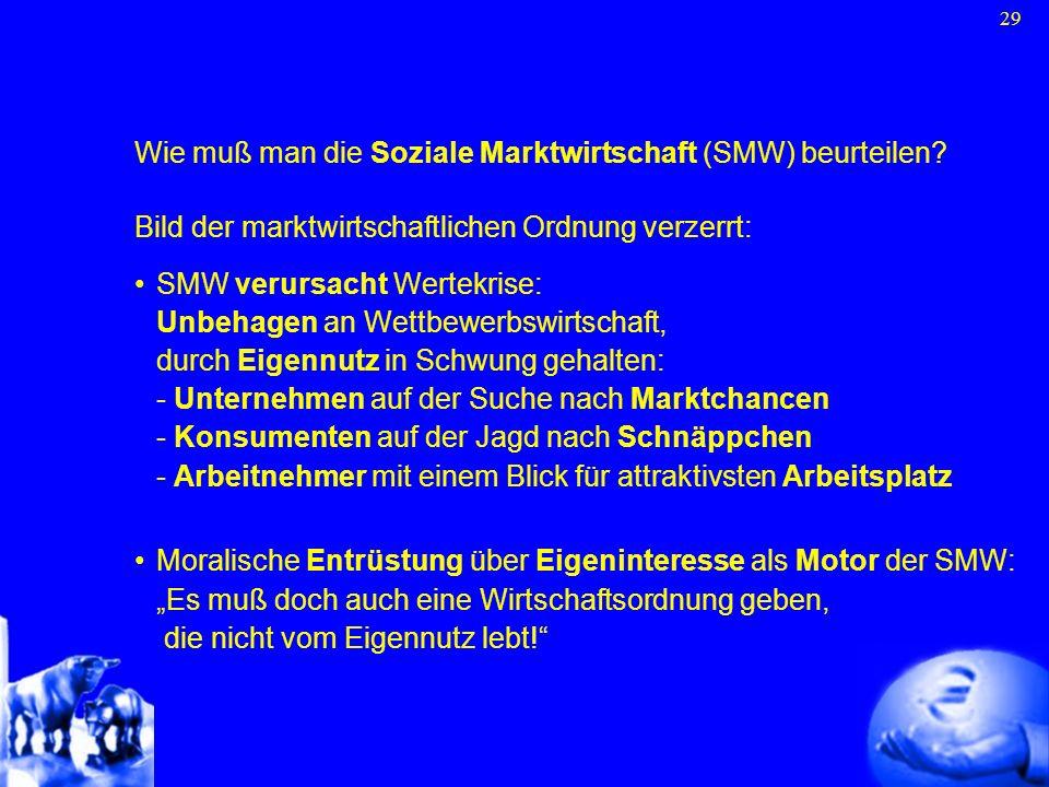 Wie muß man die Soziale Marktwirtschaft (SMW) beurteilen