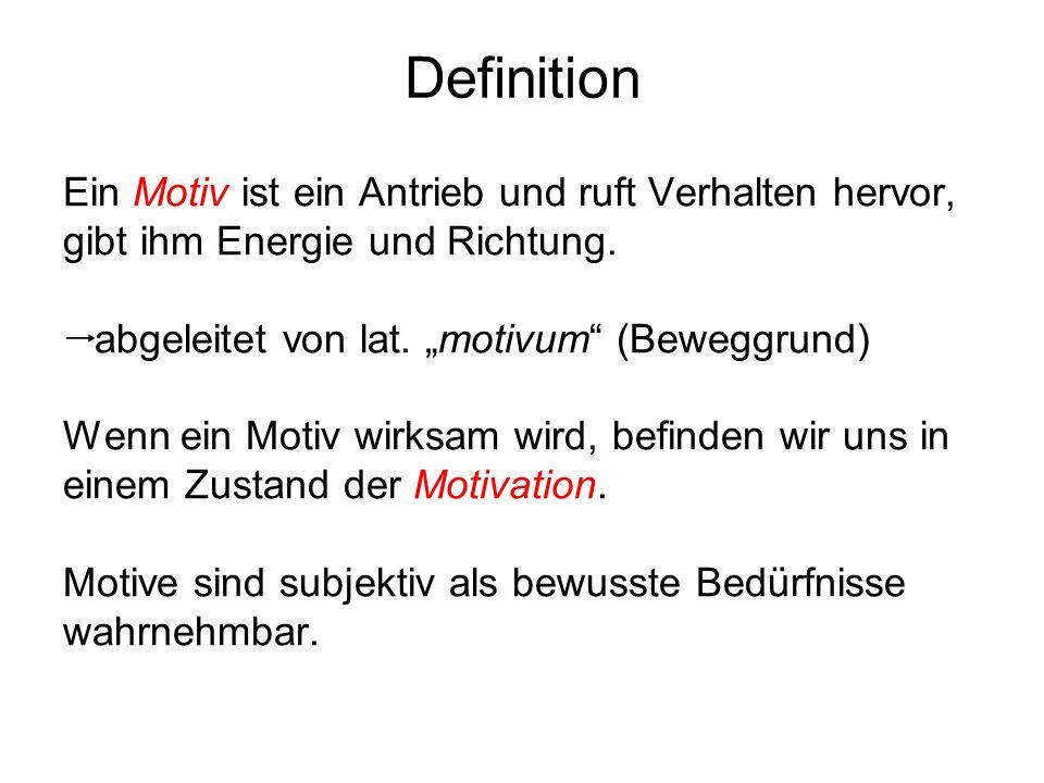 """Definition Ein Motiv ist ein Antrieb und ruft Verhalten hervor, gibt ihm Energie und Richtung. abgeleitet von lat. """"motivum (Beweggrund)"""