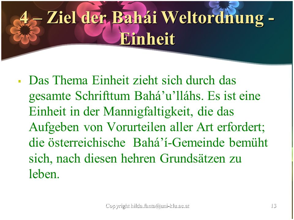 4 – Ziel der Bahái Weltordnung - Einheit