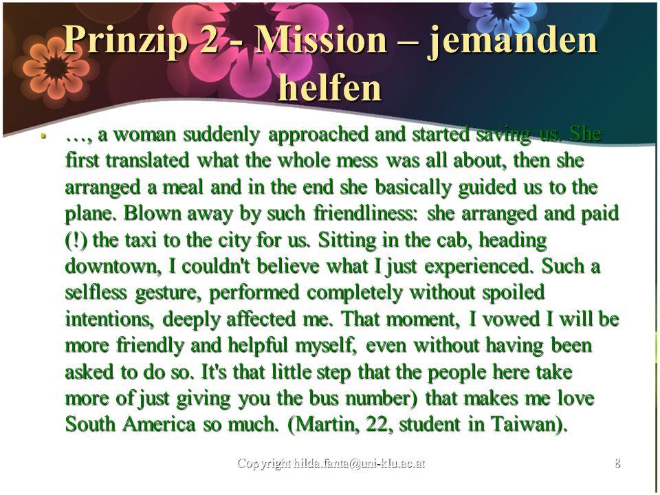 Prinzip 2 - Mission – jemanden helfen