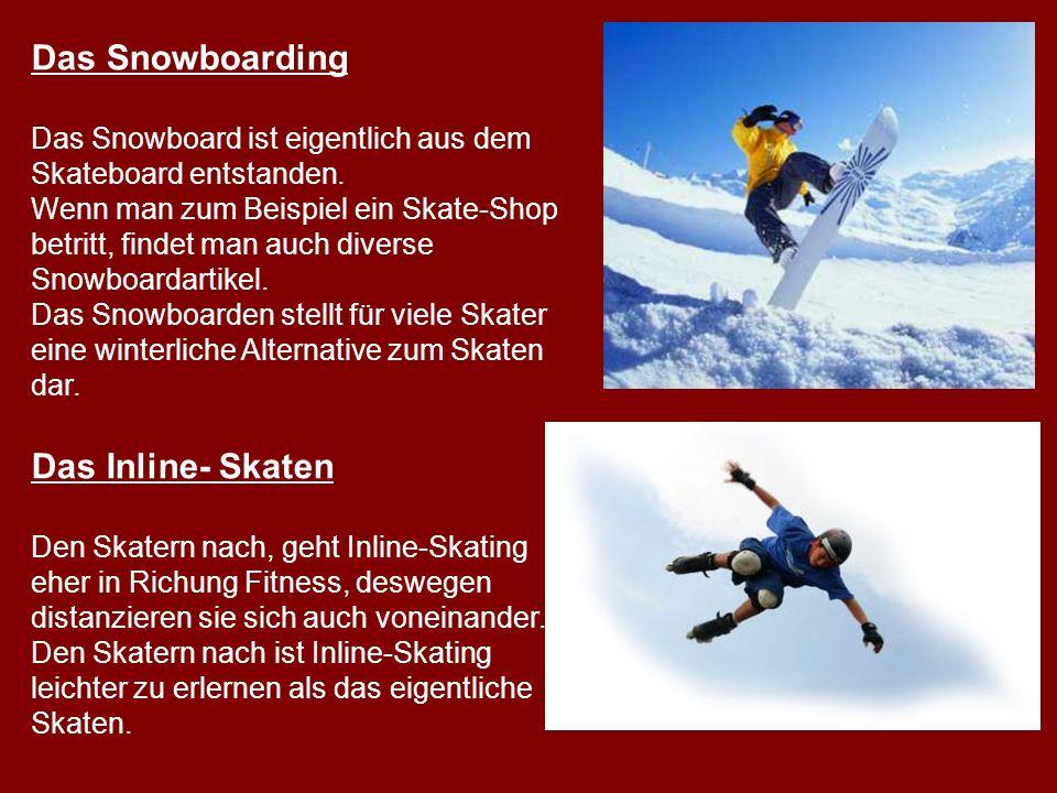 Das Snowboarding Das Inline- Skaten