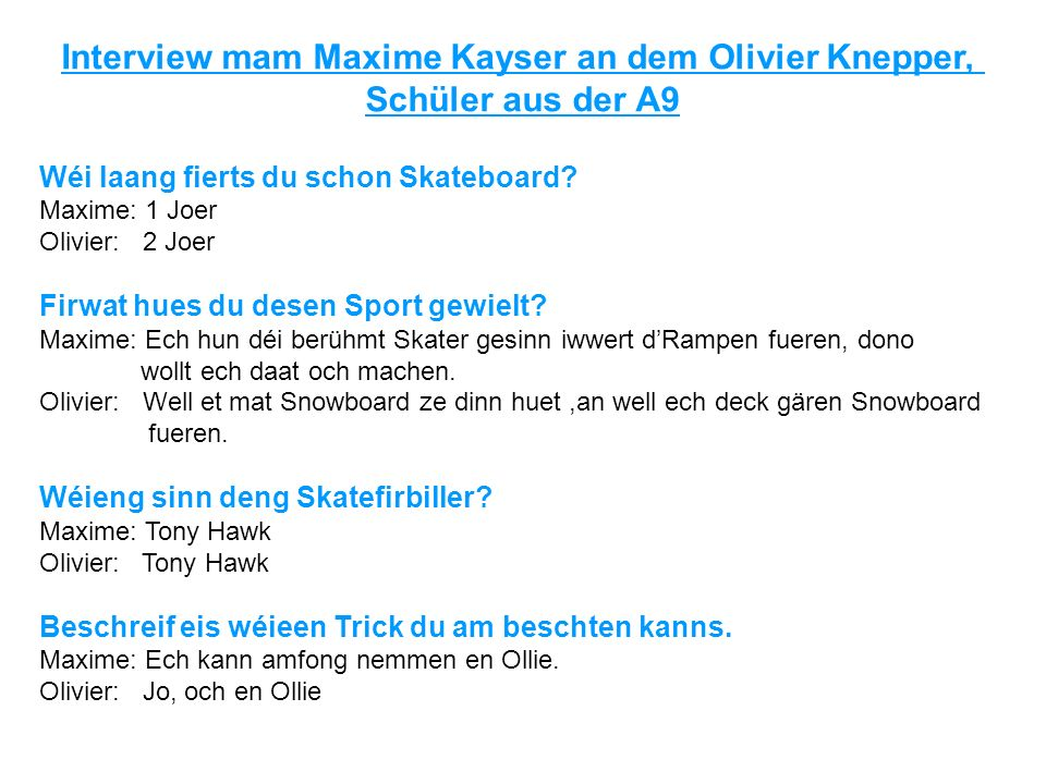 Interview mam Maxime Kayser an dem Olivier Knepper,