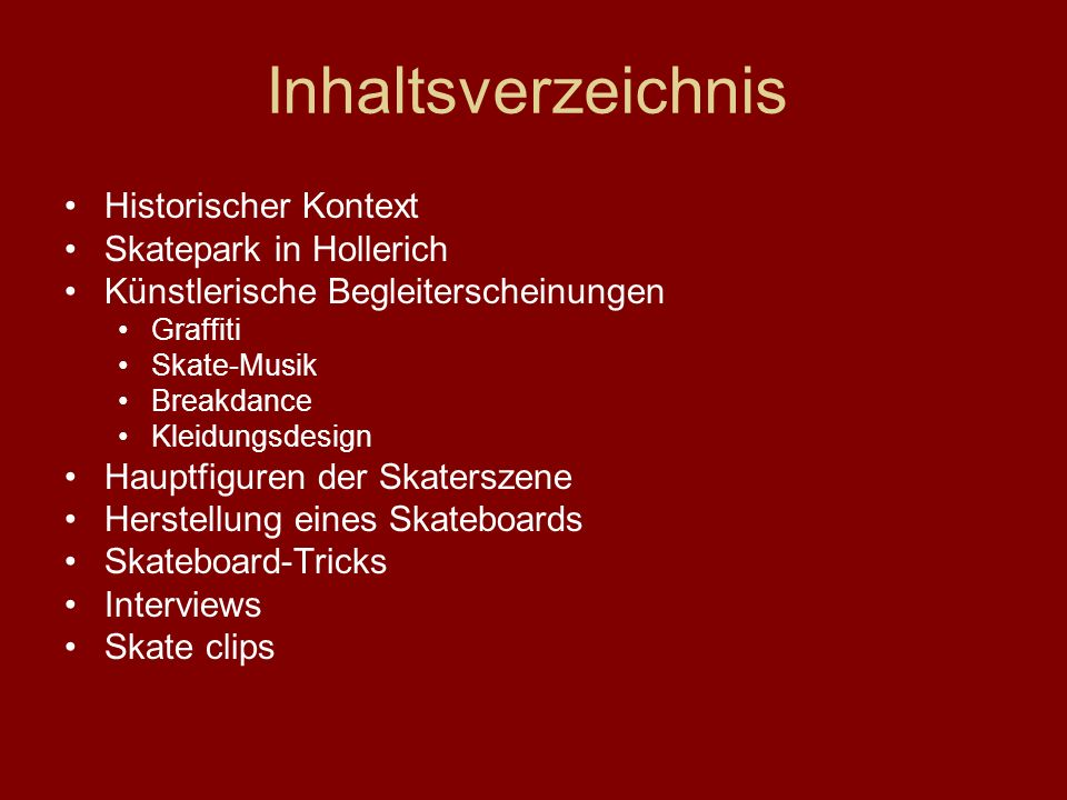 Inhaltsverzeichnis Historischer Kontext Skatepark in Hollerich